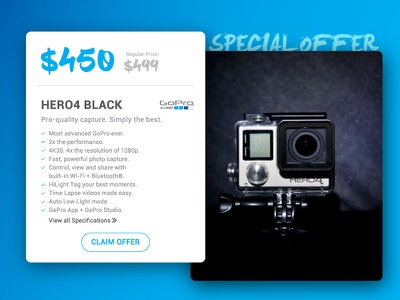 Day 017 - Special Offer card ui claim go pro hero special offer gopro banner advertise ad