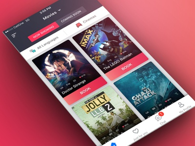 BookMyShow HomeScreen Concept card ticket home page book cinema movie booking grid ux ui