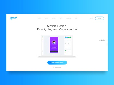 Marvel App Landing Page clean blue user interface web responsive minimal ux ui landing page website marvel