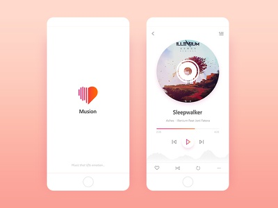 Music Player ux ui colorful clean play emotion ios app ios player music app