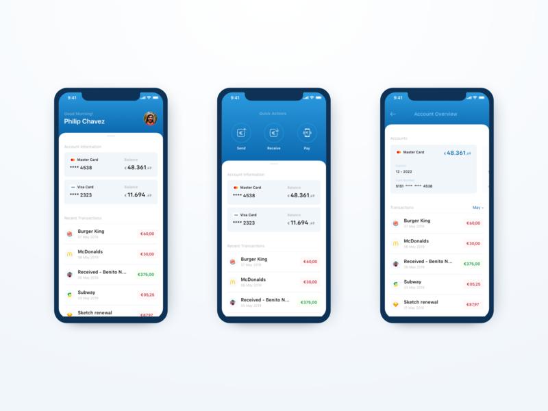 Design Exercise - Mobile Bank App Dashboard design exercise quick actions card dashboard banking bank app mobile app blue flat clean ux minimal ui
