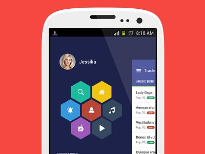 Circular Navigation slideout nav android menu