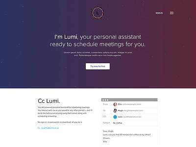 Lumi - Personal Assistant AI Landing Page web page chatbot landing page personal assistant ai