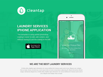 Laundry App Landing Page dry clean cleaning onepage green landing page laundry app laundry