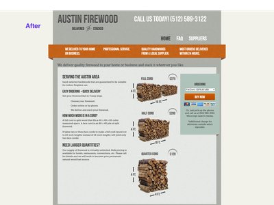 Austin Firewood Website Redesign php html and css photoshop graphic design