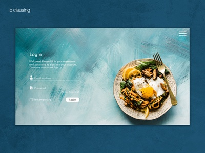 Food website - Login page