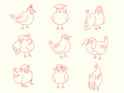 The Copy Canary Wears Many Hats Icon Set lineart iconography animal icon bird logo bird illustration bird icon illustrator icon design icon illustration digital art icon set