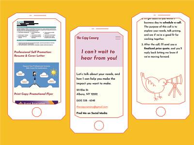 The Copy Canary Mobile Website digital art illustration icon design brand design responsive website mobile ui ui web design