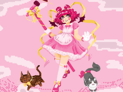 Pixel Art Magical Girl Illustration