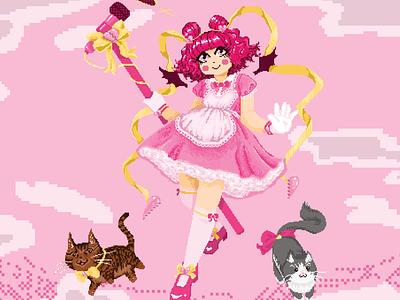 Pixel Art Magical Girl Illustration pink magical girl digital painting digital illustration digital art illustration videogame vector pixel art pixelart pixel