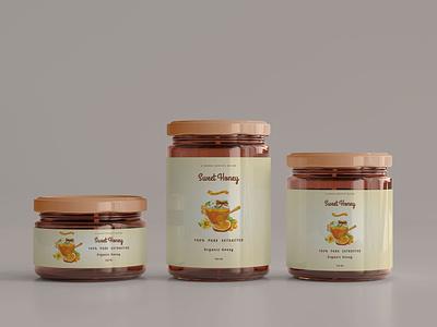 Honey Jar Packaging Design graphics product packaging bottle packaging jar packaging packaging design packaging illustration photoshop branding