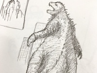Godzilla rough pencil sketch