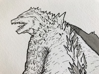 Beginning to ink Godzilla