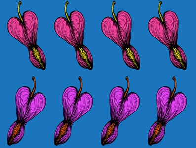 Heart Flower Pattern Design I purple pink lovely love valentines day valentine day adobe illustrator flowers floral flower heart beautiful drawing colorful illustration adobe photoshop painting art