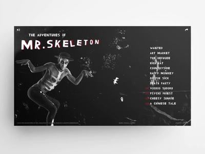 Mr. Skeleton – website red dark skeleton css3 jquery player video audio uxui design html5 animation