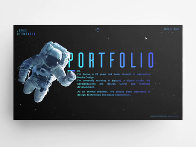 Jonas Reymondin – Portfolio 2019 folio portfolio astronaut space exploration stars uiux jquery audio html5 css3 dark space animation