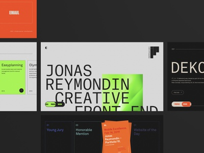 Portfolio 2021 orange green beige portfolio black clean minimal animation transition scroll creative front-end development developer frontend ui design ux design