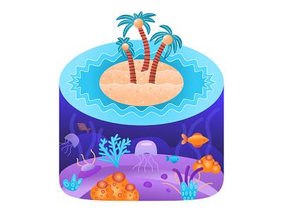 Island aquarium waves beach sand gradient jellyfish corals fish underwater ocean sea palms island flat vector illustration