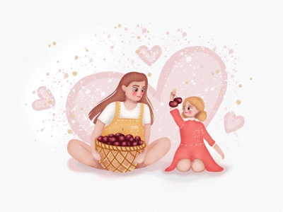 Sisters with cherries art illustration logo design cherry sisters children illustration art