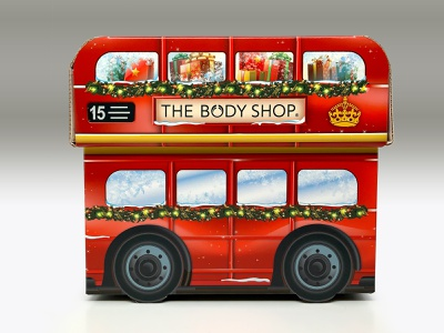 The Body Shop - Double-decker bus setbox retail packaging the body shop personal care giftbox vector graphic design print design logo illustration brand engagement branding consumer goods package design