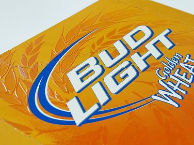 Bud Light Golden Wheat tactile design beverage packaging vector logo print design illustration graphic design branding brand engagement package design