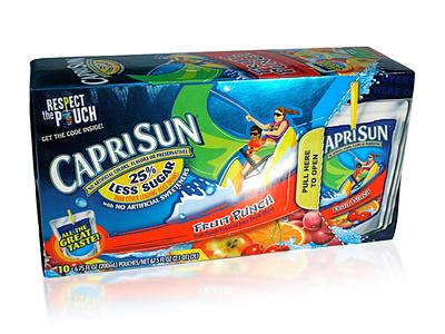 CapriSun 10 pouch package design caprisun dimensional varnish tactile design beverage packaging vector print design illustration graphic design consumer goods branding brand engagement package design