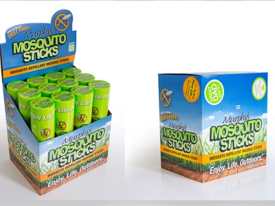 Murphys Naturals Mosquito Sticks case and display design all natural incense sticks mosquito repellent tabletop display product display print design illustration graphic design consumer goods brand engagement package design branding