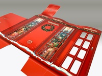 The Body Shop seasonal London inspired phone booth carton design