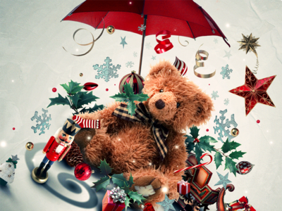 — Merry Christmas photo manipulation abstract toys christmas illustration bear teddy shapes design colors graphic print