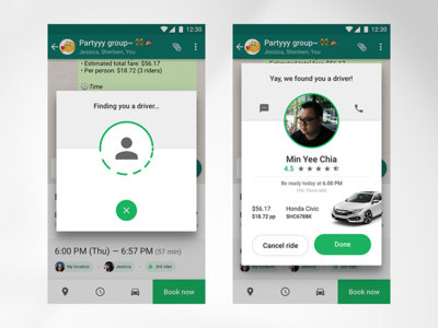 — Car riding app UI (Booking) car riding app interaction ratings booking ui mobile design profile material chat