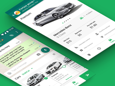 — Car riding app UI (Cars) chat material profile design mobile ui carousel ratings interaction app riding car