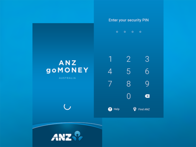 — ANZ goMoney Android app secure mobile interaction password login splash pin pad money design app finance bank
