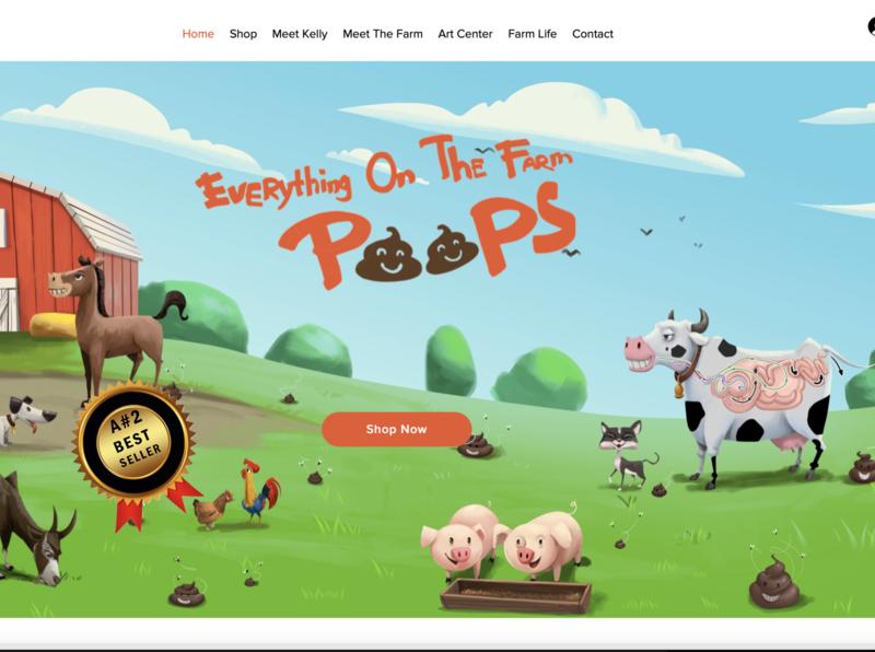 Everything On The Farm Poops, Children's Author web design website design website wix