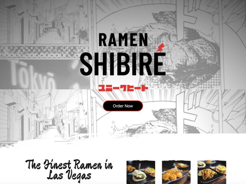 Ramen Shibire, Restaurant ux ui design website web design website design wordpress development wordpress design