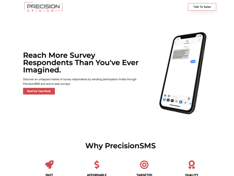 PrecisionSMS by Precision Opinion, New Product Landing Page website ux ui wordpress design website design web design webdesign marketing hubspot elementor-pro elementor wordpress landingpage