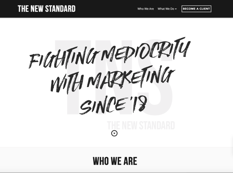 The New Standard, Marketing Agency marketing ux ui website design web design wix