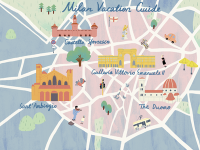 Milan Vacation Guide tripsavvy texture illustrator map art milan vacation vacation guide illustration digital photoshop editorial illustration illustration