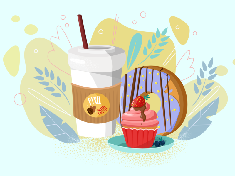 Coffee break illustrator illustraion donut cupcake coffee