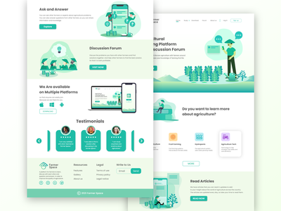Farmer Space website design social network farmer agriculture start up illustration landing page design ux ui design landing page