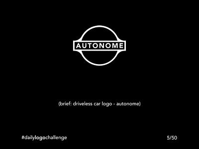 Daily Logo Challenge - 5/50 -  Autonome car logo autonome minimalist black and white logo illustration design challenge branding