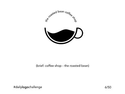 Daily Logo Challenge - 6/50 -  Coffee Shop coffee bean coffeeshop coffee cup coffee minimalist black and white logo illustration design challenge branding