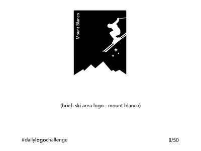 Daily Logo Challenge - 8/50 - Mont Blanco min sports logos ski minimalist black and white logo illustration design challenge branding