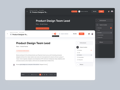 Hiring Platform ui text editor creation text dark mode minimal interface hire job platform hiring