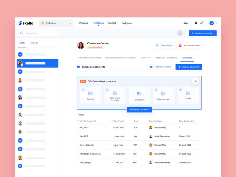 Page Employee — Skello 🗂 interface saas upgrade update feature folder document profile users skello redesign ui worker employee