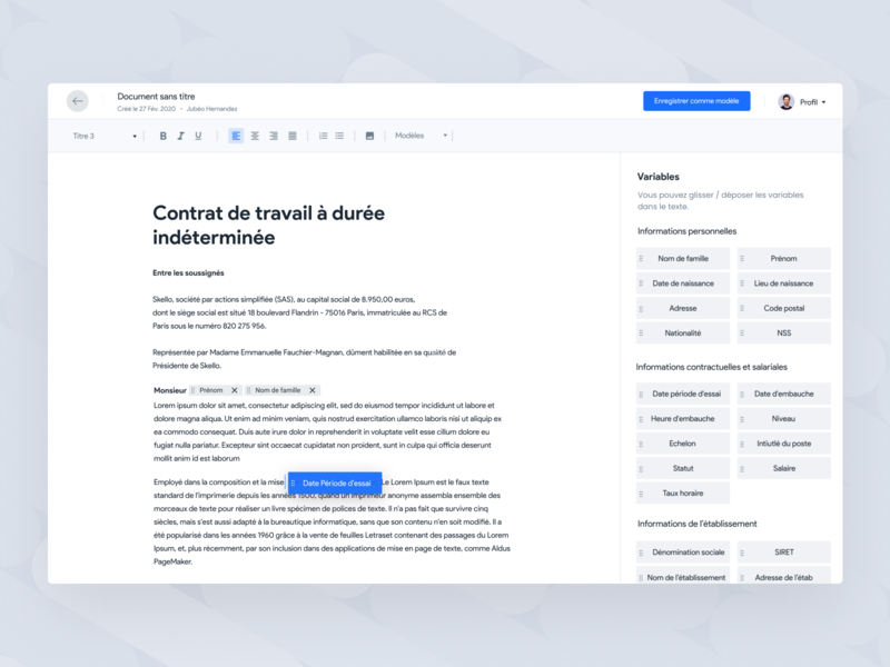Create your HR document 📝 feature interface text editor platform skello edit text word hr document