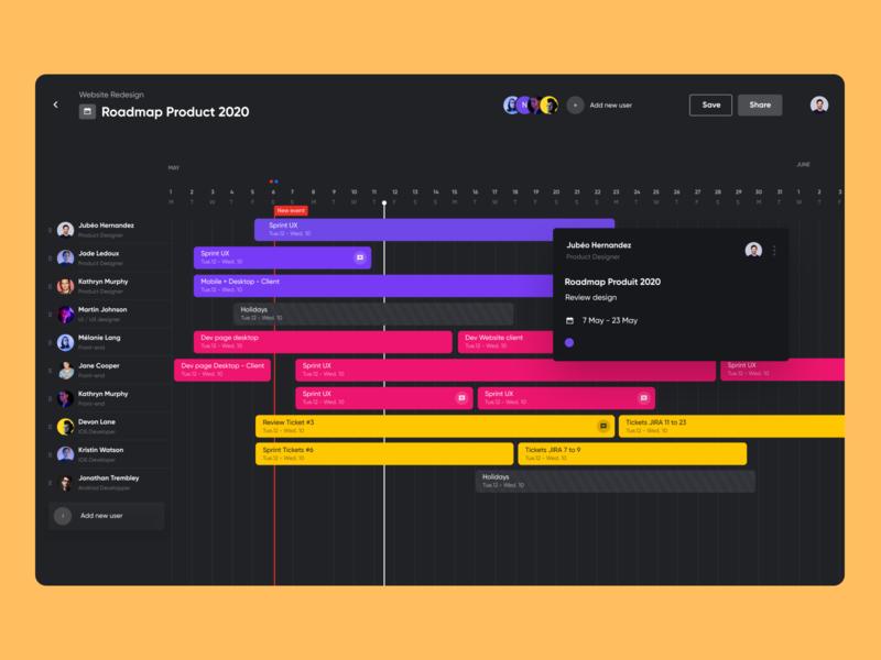 Roadmap Product ⌛ desktop app schedule progress shift desktop dark mode user freebie timeline product raodmap