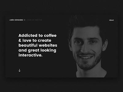 Jubeo's portfolio bw profile hp ui webdesign minimal black portfolio