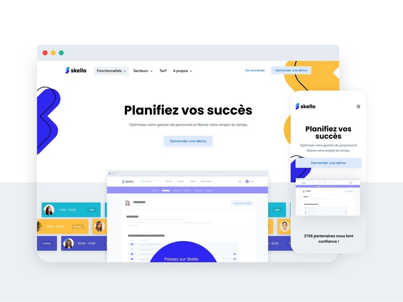 Skello - Homepage planyoursuccess shift minimal ux ui branding design landing desktop skello website branding homepage