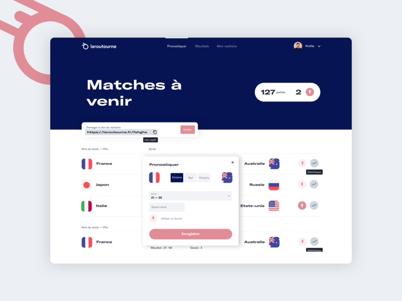 Laroutourne — Rugby 🏉 world cup sports branding clean minimal ui soccer desktop website betting bet sport prediction contest rugby laroutourne