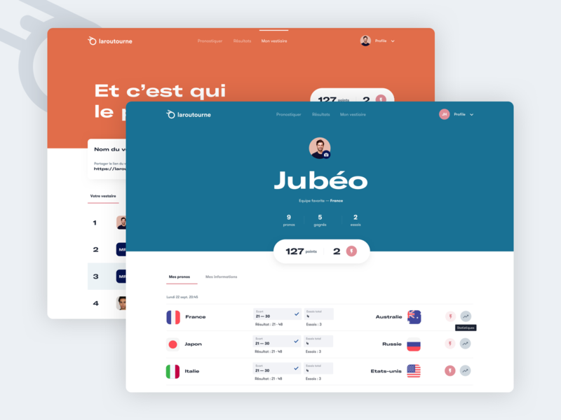 Laroutourne — Rugby 🏉 betting bet uiux ui flags table result sport world cup worldcup account profile page profile rugby laroutourne